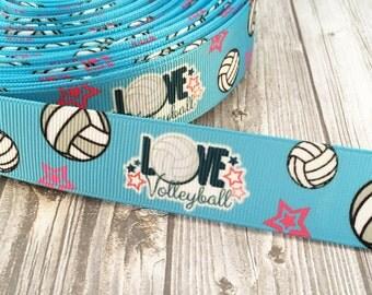 "1"" Volleyball ribbon - I love Volleyball - Sports ribbon - 3 or 5 yards - Pink grey blue - Stars ribbon - Sport headband DIY - Key fob DIY"