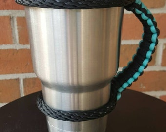 Paracord handle for Yeti, Rtic, Ozark, or Orca - 20 oz or 30 oz - TEAL