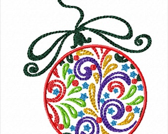 Colorful Christmas Bulb -A Machine Embroidery Design for Christmas