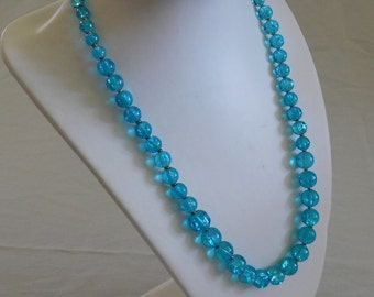 Blue Crackle Graduated Necklace