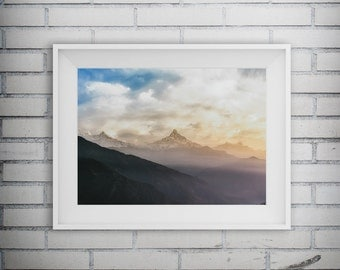 Mountain Print, Mountain Art, Nature Print, Nature Photography, Cloud Photography, Landscape Prints, Printable Art, Digital Download