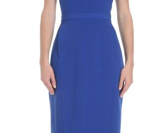 Helen Peggy Panel Sheath Dress Blue