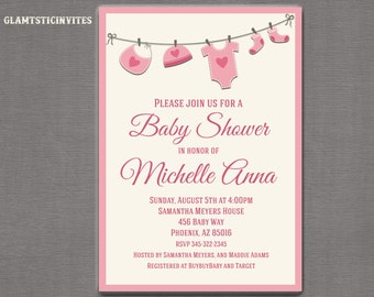 Baby Shower Invitation, Baby Girl Invitation, Girl Baby Shower Invitation, Pink Baby Shower Invitation, Baby Shower, Gender Neutral, Shower