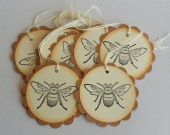 Bee tags, Bee gift tags, Bee favor tags, Bee wedding favor tags, Set of 12