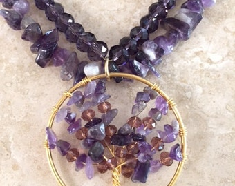 Natural Purple Color Stone Necklace - Boho Style - Bold Statement Necklace
