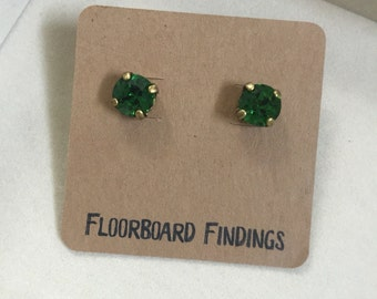 SALE ITEM Swarovski Crystal Studs (8mm) in Fern Green