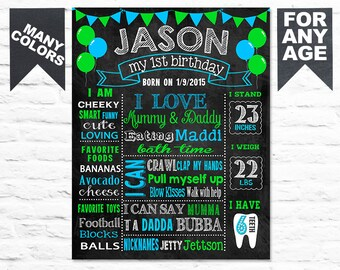 First Birthday Chalkboard Sign - Printable 1st Birthday Chalk board Poster - Blue Green Birthday Board for a Boy - Custom Banner (261)