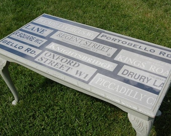 Shabby Chic London Street Sign Coffee Table - Farrow & Ball French Grey Paint