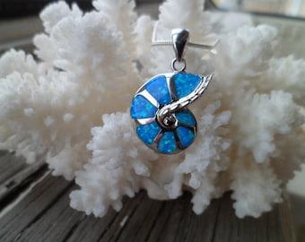 925 Silver Necklace - Blue Opal Sea Shell  Necklace - Blue Fire Opal Pendant - Beach Necklace - Maritime Pendant - Sea Necklace
