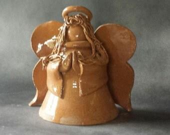 brown stoneware handcrafted angel