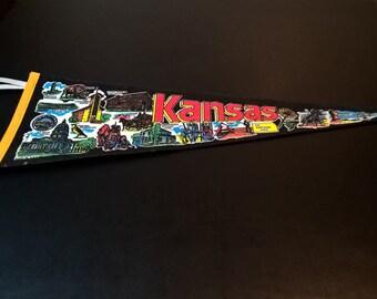 Vintage Kansas Pennant **FREE SHIPPING**