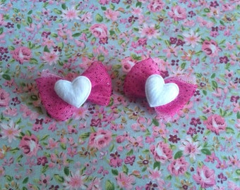 Hot Pink Sparkly Heart Bows Set of 2