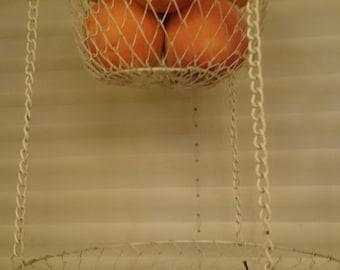 Vintage 2 Teir Mesh Wire Hanging Basket