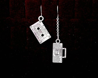 OLD SCHOOL, boom box, mix tape, 80s style, mismatched silver earrings, new wave, asymmetrical, American, road trip, funny earrings