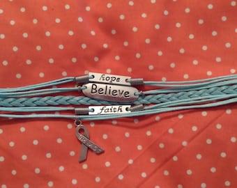 Baby blue breast cancer bracelet