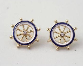 Nautical blue and white earrings