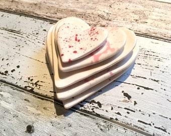 Nesting Heart Dishes - Splatter