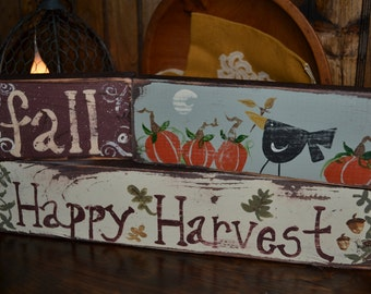 Fall Happy Harvest Wooden Stacking Blocks| Fall Decor| Hand Painted