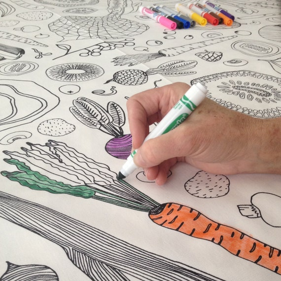 Coloring Book Tablecloth | Interactive Tablecloth, Coloring Book for Adults, Harvest Tablecloth, Holiday Tablecloth, Tablecloth for Kids