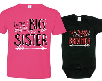 Big Sister Little Brother Shirts set of 2, Sibling T-shirt or Creeper, Big Sisters shirt, Little Brothers Hipster shirt, HipSib