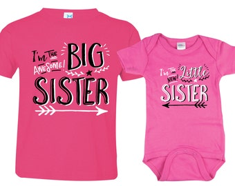 Big Sister Little Sister Shirt set of 2, Sibling Shirts, Big Sisters Hipster shirt and Little Sisters shirt, HipSib