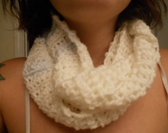 White with Baby Blue Stripes Crocheted Infinite Scarf