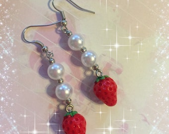 Lolita Fairy Kei Strawberry and Pearl Dangle Earrings