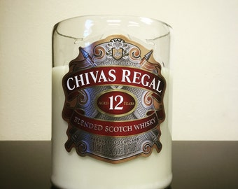 Recycled Chivas Regal 12 Scotch Whisky Bottle Candle