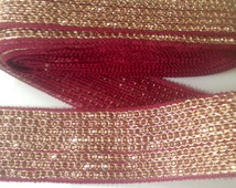 Saree trim Maroon color Antique metal finish 1Yard Indian woven Lace Trim Bollywood wedding lace Sequin border