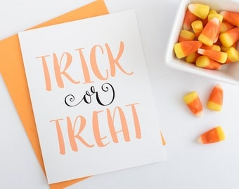 Halloween Greeting Card | Trick or Treat Greeting Card | Blank Halloween Greeting Card | Happy Halloween Greeting Card | Halloween Notes