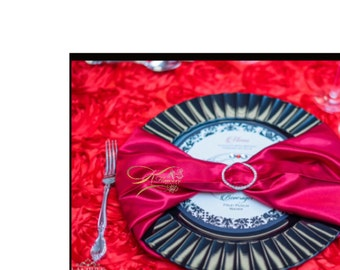 Black & White Damask Round Menu Cards