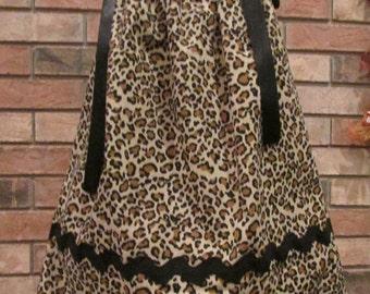 Leopard Print Pillowcase Dress - Size 12 to 18 months