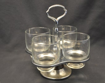 Vintage Lazy Susan with 4 Glass Cups Chrome Wood