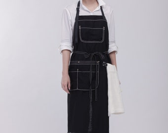 Waxed Canvas Apron  | Men and Women's Apron |  Work apron  | Barista apron |  Barber apron  | Hand Waxed Canvas and Leather apron No. 0989