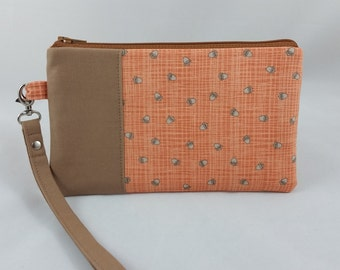Autumn or Fall Smartphone Wristlet - Wristlet Wallet - Smartphone Wallet - Zipper Pouch - Fall Clutch - Purse