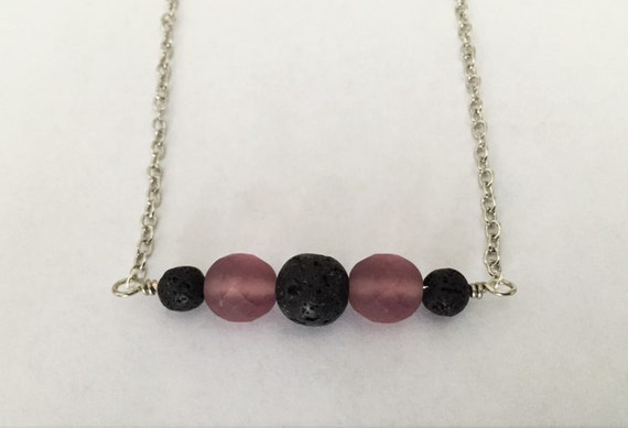 Diffuser Necklace. Inline Style with Lava Stone Beads for Essential Oils and Featuring Czech Glass Beads. Lava Stone Oil Diffuser Necklace