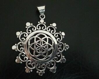 Flower of life  pendent tribalavtar pendent tribal Brass pendent ethnic pendent yoga jewellery brass pendent