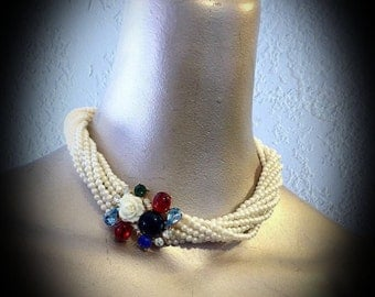 vintage Gay Boyer multistrand pearl necklace with ornate crystal and rhinestone clasp