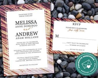 Woodgrain Printable Wedding Invitation