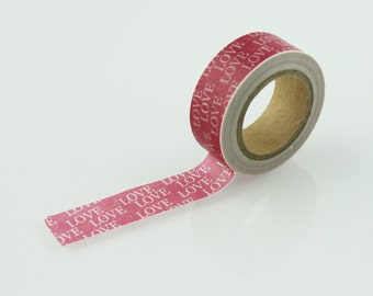 Love Text Pattern Washi Tape // 15mm // Paper Tape // BBBsupplies {CR-W-P180}