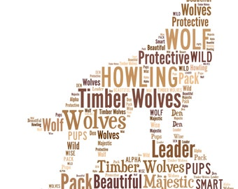 A4 or 5x7 Size Personalised Wolf / Wolves Word Art Print - Gift Idea  *Digital File Also Available*