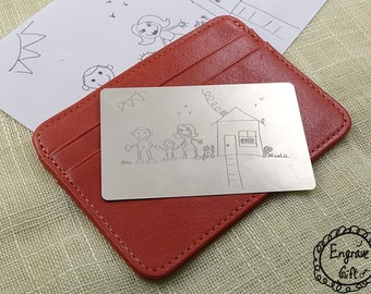 Child's Art Doodle Picture Engraved Wallet Insert Personalized, Custom Wallet Card Art Laser Etched - Gift Grandma Grandpa Fathers Day Gift