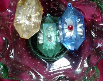 3 Jewel Brite Vintage Plastic Prism Shaped Ornaments/Retro Christmas/Mid Century Christmas