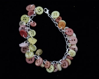 yellow and copper button bracelet