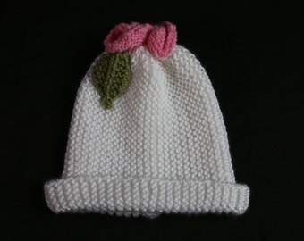 Sweet Little Girls Knitted hat, White Paper Bag Hat with Flower and Leaves. White baby Hat, Hat trimmed with Fower. Paper Bag Hat, Knitted