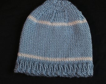Baby Boy hat, Baby Blue with off White Stripes Knitted Hat, Boy Hat, Knitted Boys Hat, Cute Hat, Knitted cap, Blue hat, Baby to 6 Months