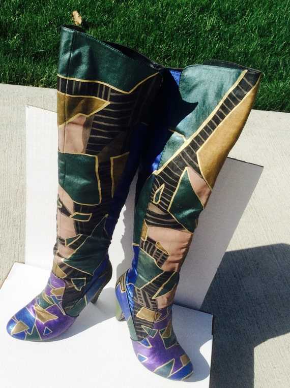 items similar to thigh high multi colored painted