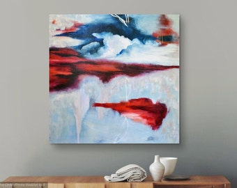 Original Abstract Painting by Devon Walz / Contemporary Art / Modern Painting / Cloud Abstract / Red and Blue Abstract Painting / Sky