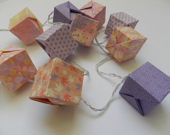 Cube origami pink and purple light Garland