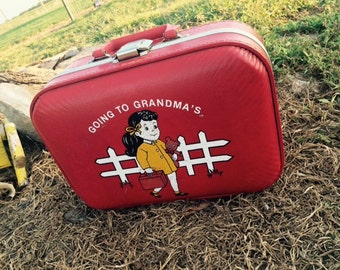 Vintage Going To Grandma's Red Suitcase, Gift, Décor